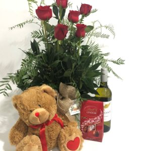 6 ROSES WINE CHOCS TEDDY