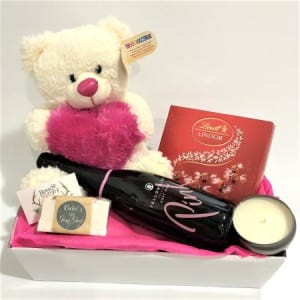 Teddy, Bubbly, Chocs, Soap and Candle