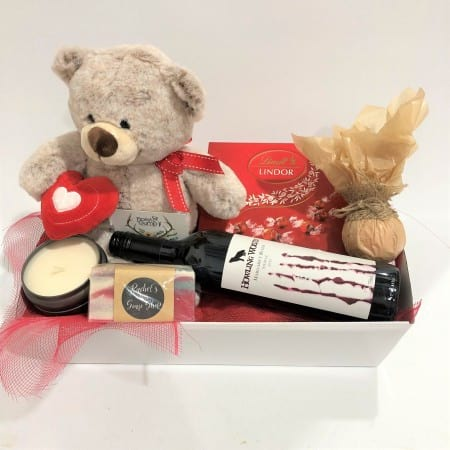 Teddy, Wine, Chocs, Candle, Soap and Bath Bomb
