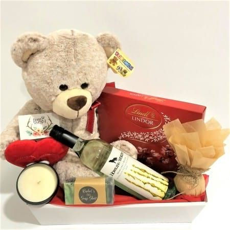Teddy, Wine, Chocs, Candle, Soap and Fizzy Bath Bomb